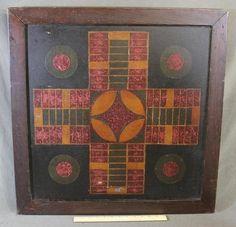 "Antique Circa 1920s American Folk Art Painting ""Parcheesi Game Board"" | eBay"