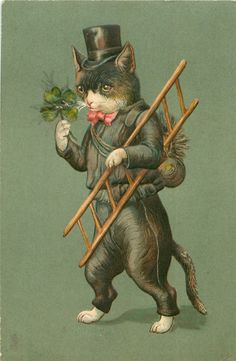 chimney sweep cat in black, carries ladder & shamrock