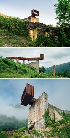 By Zon-E Arquitectos. This striking walkway and lookout at an old mining site near Riosa, Spain, is made from concrete, rusty steel and recycled wood, and acts as a rest stop and viewing point for visitors. Landscape Architecture Design, Contemporary Architecture, Architecture Details, Interior Architecture, Pedestrian Bridge, Urban Landscape, Walkway, Holland, Facade
