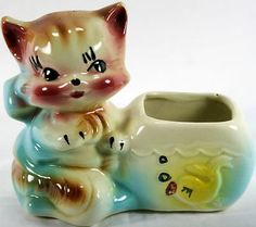 Cute Vintage American Bisque Co. Kitty Cat Kitten & Fish Planter USA Glazed Pottery Very Good Condition!