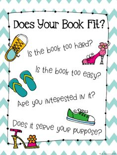 The Daily Five: Good Fit Books Anchor Chart FREEBIE Also has really simple mini lessons for starting read to self Kindergarten Reading, Reading Activities, Teaching Reading, Reading Strategies, Library Activities, Teaching Ideas, Reading School, Reading Projects, Work Activities