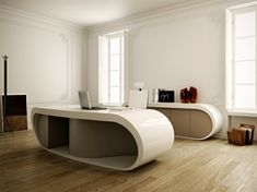 Creme Farbe Schreibtisch Design Idee · Modern DeskContemporary Office DeskModern  Home ...