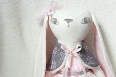 Bunny doll, heirloom doll, floppy eared bunny, ragdoll by HoppDolls on Etsy