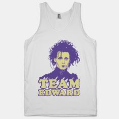 Show your love for Tim Burton's 90s cult classic Edward Scissorhands. This design features and illustration of Johnny Depp as Edward Scissorhands in bright purple and pastel yellow.