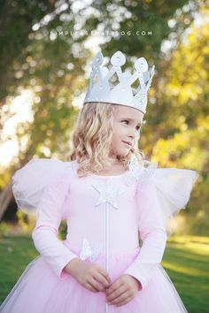 DIY Glinda the Good Witch Wizard of Oz Halloween costume that requires little to no sewing.