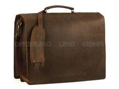 Le Bazaar Full Leather - Leder Aktentasche Lehrertasche Schultasche Aktenmappe - antikbraun 7849