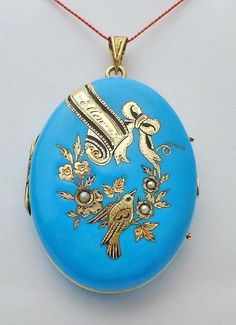 Victorian Seed Pearl Enamel Photo 14k Gold Locket