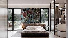 دکوراسیون اتاق خواب با نقاشی و بافت Arty Bedroom, Bedroom Red, Modern Bedroom, Feature Wall Bedroom, Bedroom Wall Colors, Office Furniture Design, Interior Design Studio, Cool Bookshelves, Cozy Apartment