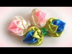 Бантики канзаши, Мк - YouTube Diy Lace Ribbon Flowers, Kanzashi Flowers, Ribbon Art, Ribbon Hair Bows, Diy Hair Bows, Ribbon Crafts, Fabric Flowers, Kanzashi Tutorial, Deco Mesh Crafts