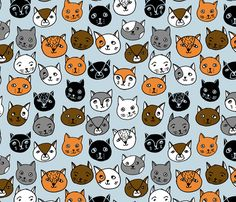 Cat Faces - Columbia Blue Multi by Andrea Lauren  fabric by andrea_lauren on Spoonflower - custom fabric