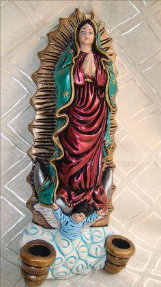 Virgen de Guadalupe Aplique de pared Adorno de dormitorio Glazing Techniques, Arte Country, Holy Family, Saints, Prayers, Barbie, Porcelain, Princess Zelda, Wonder Woman