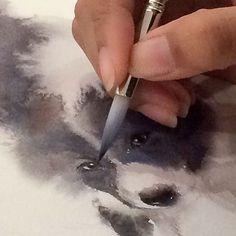 When my boy was painted... Huhu  #watercolor #watercolorist #paint #painting #art #artist #artwork #eyes #studio #boy #dogs #love