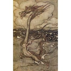 Book of Pictures 1913 Sea Serpent Canvas Art - A Rackham (18 x 24)