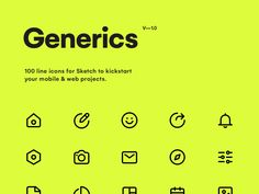 Generics - Line Icons - 100 line icons for Sketch to kickstart your mobile & web projects. All icons are fully editable and - App Design, Icon Design, Mobile Design, Flat Design, Website Icons, Website Layout, Finance, Ios Icon, Web Project