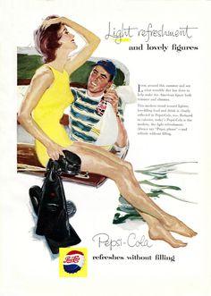 Pepsi-Cola Skin-Dive Scuba Diver Pepsi - Mad Men Art: The Vintage Advertisement Art Collection Pepsi Advertisement, Retro Advertising, Retro Ads, Vintage Advertisements, Art Vintage, Vintage Ads, Vintage Prints, Vintage Posters, Vintage Magazines