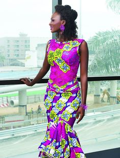African textiles with purple lace top