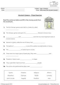 This cloze activity can be used as an extra resource when teaching the topic Who were the ancient Greeks? Children read the sentences and fill in the missing words from the word bank.