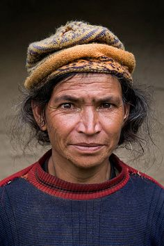 Portrait of a lady in the himalaya area, Kinnaur land in North India
