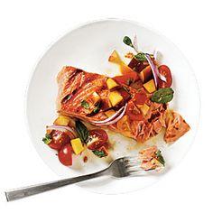 Grilled King Salmon with Tomato-Peach Salsa | MyRecipes.com