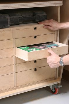 A simple idea for closely spaced drawers.  I really like the thumbholes' eliminates the need for drawer pulls.