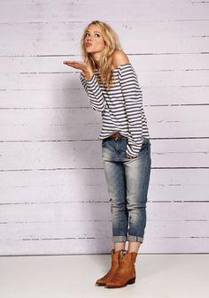 LOOK Décontracté jean/ Bottines/ tee shirt marinière