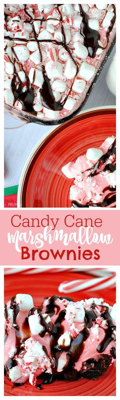 SO good! Candy Cane Marshmallow Brownies drizzled with hot fudge