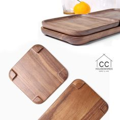 Walnut Wood Tray Wooden Tray Wooden plates Tea by CCHousewares