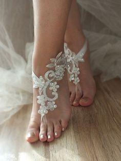 ivory silver frame barefoot sandals, embroidered sandals, ivory Barefoot , french lace sandals, wedding anklet, FREE SHIP