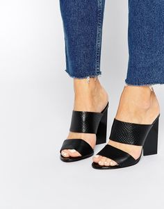 Image 1 of Faith Dwight Black Mule Heeled Sandals