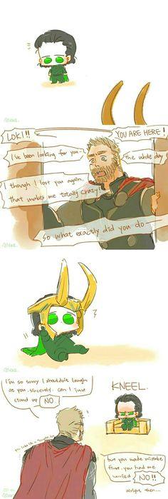 tiny loki is soooo cuuuute x) Baby Avengers, Avengers Comics, Baby Loki, Thor X Loki, Marvel Art, Marvel Heroes, Marvel Avengers, Funny Marvel Memes, Marvel Jokes