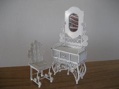 Vintage filigree metal doll furniture.  White metal.  Chair and dressing table.  Sale.