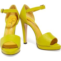Charlotte Olympia Unfurnished neon lizard-effect leather sandals ($305) ❤ liked on Polyvore featuring shoes, sandals, peep toe sandals, neon yellow sandals, ankle strap high heel sandals, yellow high heel sandals and ankle strap sandals