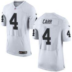 Nike Elite Derek Carr White Men's Jersey - Oakland Raiders #4 NFL Road