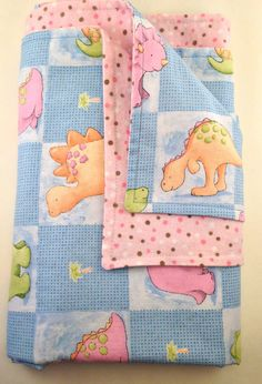 BABY GIRL BLANKET with Dinosaurs and a Flannel by BabyHippoShoppe, $39.00