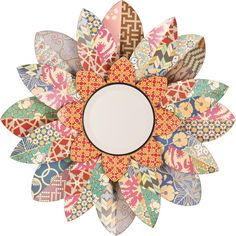 Colorful Floral Round Wall Mirror found on Polyvore