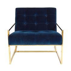 Navy Velvet Chair // Black Rooster Decor