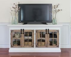 Are you looking for DIY TV Stand ideas? Why you not to try our list of simple DIY project that will cost you under 100 bucks.These free DIY TV stand project. Build A Tv Stand, Tv Stand Plans, Diy Tv Stand, Farmhouse Media Cabinets, Rustic Cabinets, Rustic Shelves, White Cabinets, Kitchen Cabinets, Furniture Plans