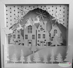 Make with 3 layers and add lights.put spacer wood. Christmas Paper, Handmade Christmas, Christmas Lights, Christmas Holidays, Christmas Crafts, Kirigami, Box Frame Art, Shadow Box Frames, Outdoor Christmas Decorations