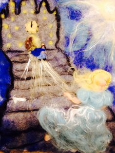 Painting in fairy and carded wool Cinderella in by CreazioniMonica