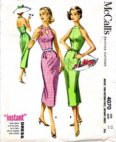 1950s McCall's 4070 Womens Halter Slim Wiggle Dress Cut Out Neckline Misses Vintage Sewing Pattern Size 12 Bust 32 UNCUT