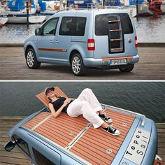 VW Caddy Topos Sail Concept Features A Wooden Deck Up Top - OhGizmo! :)