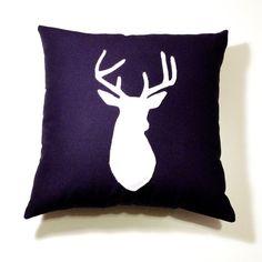 Navy Blue & White decorative deer  Pillow Cushion  - Deer Head Buck 14X14. $38.00, via Etsy.