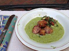 Annelle's Table #IrresistiblyItalian Seared Sea Scallops with Pea Puree
