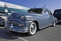 https://flic.kr/p/VG7jjb | DeSoto DeLuxe Club Coupé 1950* (2151) | Manufacturer: DeSoto Division of the Chrysler Corporation, Highland Park, Michigan - USA Type: DeLuxe Series S14 2-door Club Coupé Production time: January 1950 - December 1950 Production outlet: 10,703 Engine: 3877cc straight-6 Chrysler L-Head 236 Power: 112 bhp / 3.600 rpm Torque: 264 Nm / 1.600 rpm Drivetrain: rear wheels Speed: 137 km/h Curb weight: 1680 kg Wheelbase: 125.5 inch Chassis: box frame with longitudinal beams…