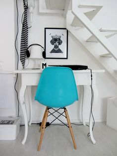 Chic and simple for small spaces (Interior design, home decor, fun, creative, ideas, inspiration, amazing, different, interesting, style, blue chair, white, under stairs, staircase, practical)