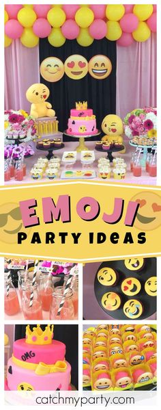 Check out this awesome Emoji birthday party., emoji awesome Check out this awesome Emoji birthday party. 10th Birthday Parties, Birthday Party Decorations, Girl Birthday, Birthday Cake, Emoji Birthday Party Ideas Girls, Party Emoji, Emoji Cake, Sleepover Party, First Birthdays