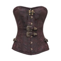CD-746 - Coffee and Black Brocade Steampunk Style Overbust - STEAMPUNK