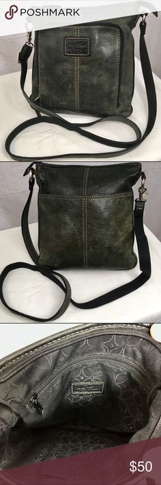 FOSSIL Dark Green Distressed Leather Crossbody This awesome vintage fossil bag was one of my favorites! The only reason why I'm getting rid of it is because I have one similar. It has a long crossbody strap that is adjustable. The strap measures as long as 50 inches. The condition is very good. The only thing I can see wrong is a little bit of wear in the trim by where it is actually sewn together. Fossil Bags Crossbody Bags