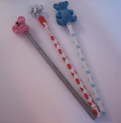 Vintage 1980s fancy pencils with bear mascots by Freelance, made in Taiwan.