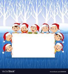 Little Kids with a blank sign and Christmas hats vector image on VectorStock Christmas Frames, Christmas Stickers, Christmas Paper, Christmas Pictures, Christmas Hats, Christmas Decorations, Xmas, Blank Sign, Powerpoint Background Design